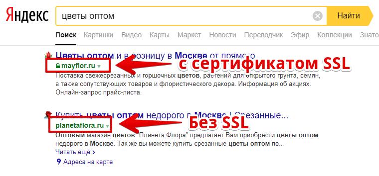 Как видят поисковик Яндекс сайт с SSL сертификатом